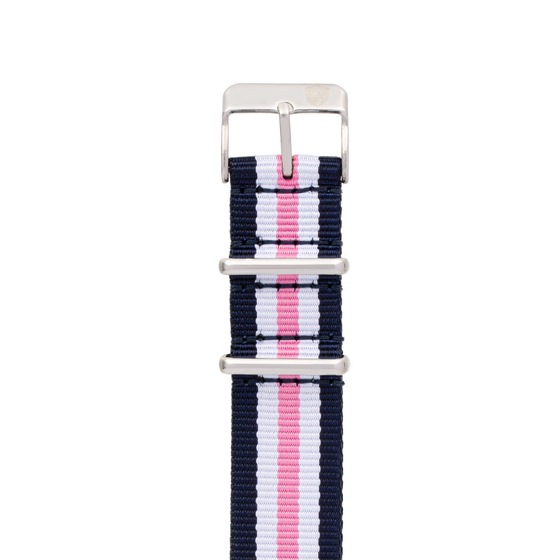 Women's 20mm Navy/Pink/White Stripe Canvas Nato Watch Strap w/ Silver Accents