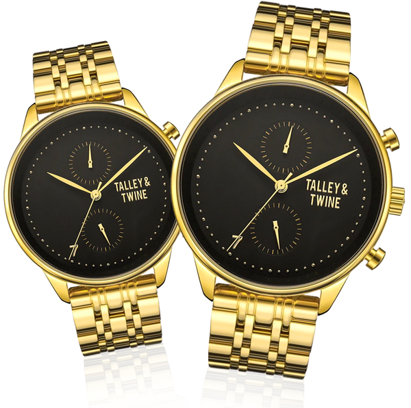 His & Her Gift Set: 46mm + 41mm Worley Chronograph M - Black & Gold