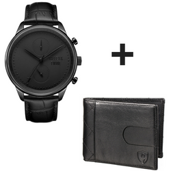 **PRE-ORDER & SAVE! SHIPPING BY JUNE 15TH!** 46mm Men's Worley Chronograph Black w/ Black Leather Band + Black Slim Wallet