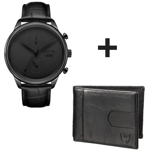 Gift Set Special: (46mm) Black Worley Chronograph Black Leather + Black Slim Wallet