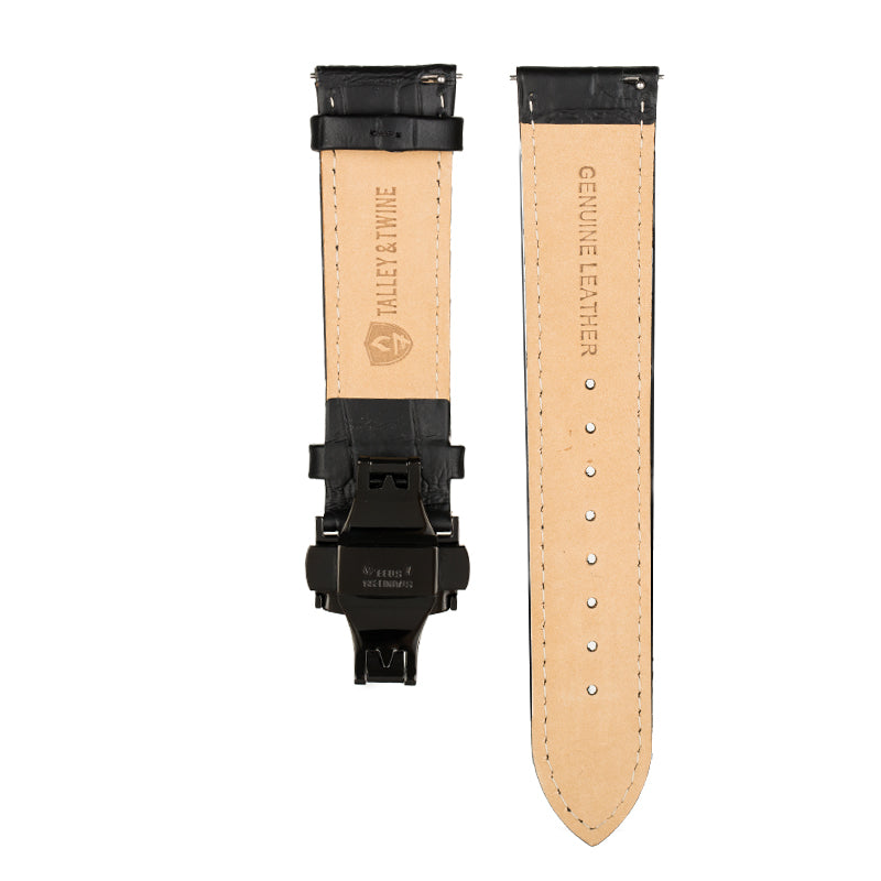 Men's Black Calfskin Leather Watch Band w/ Black Accents