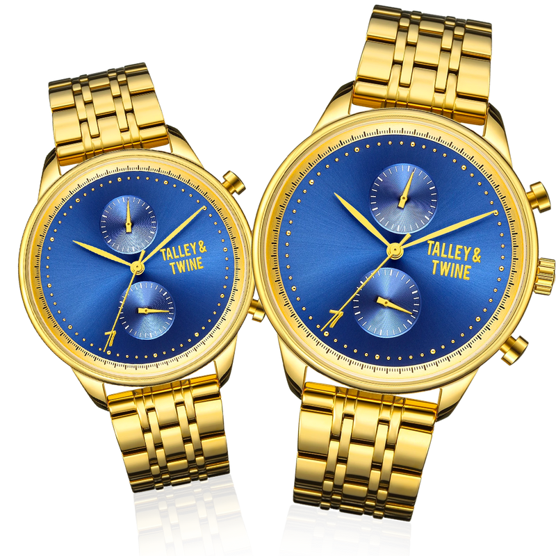 His & Her Gift Set: 46mm + 41mm Worley Chronograph M - Blue & Gold