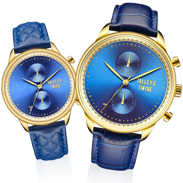 HIS & HER GIFT SET: 46mm + 41mm Worley Chronograph Blue & Gold