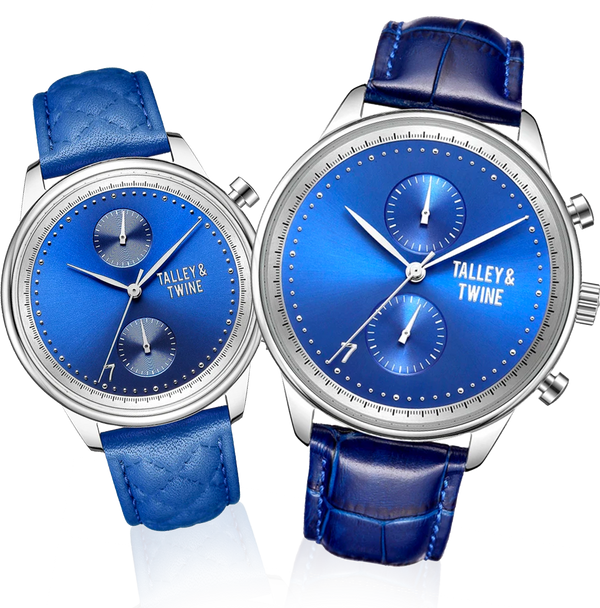 His & Her Gift Set: Blue & Silver Leather