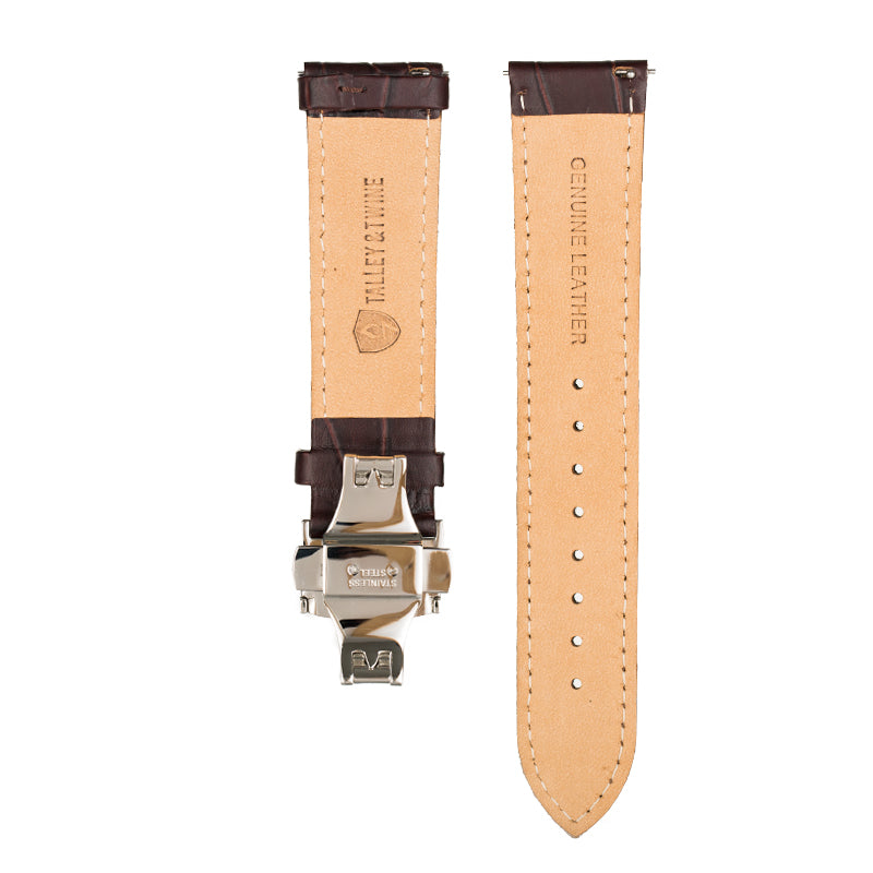 Men's Brown Calfskin Leather Watch Band w/ Silver Accents
