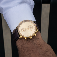 Metallic Gold Worley Chronograph - Brown Leather