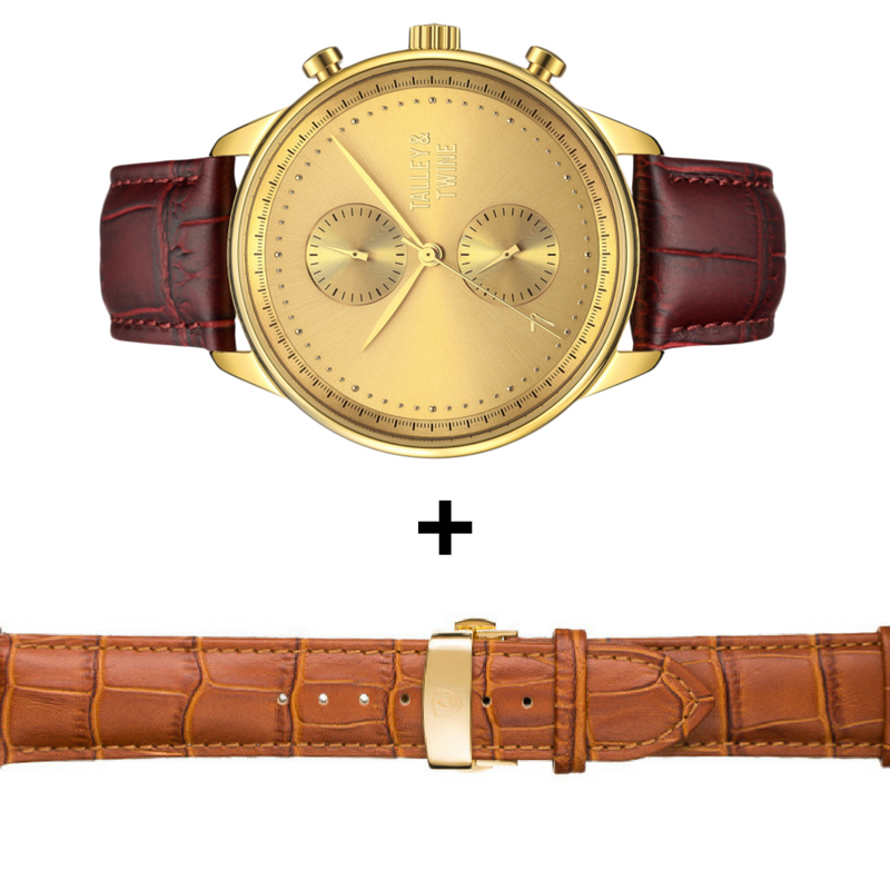 GIFT SET SPECIAL: Gold Chronograph with Oxblood + Tan Leather Bands