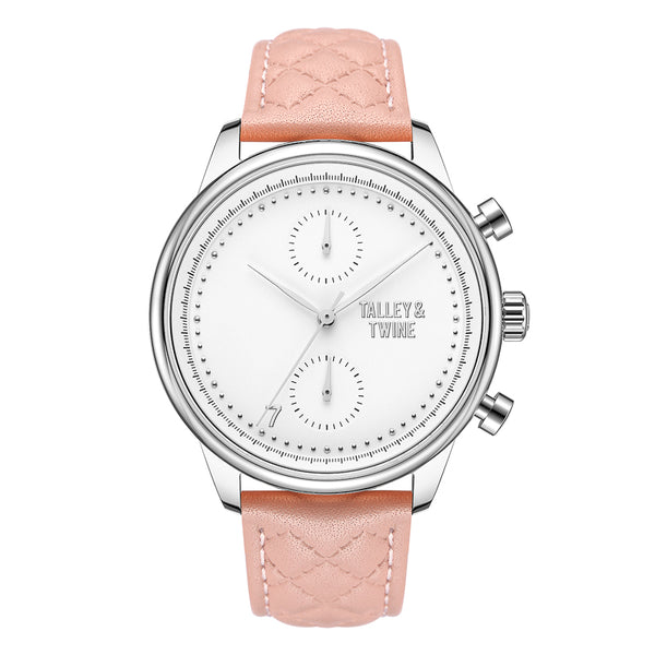 [WOMEN'S 41mm] Silver Worley Chronograph White Face - Pink Leather