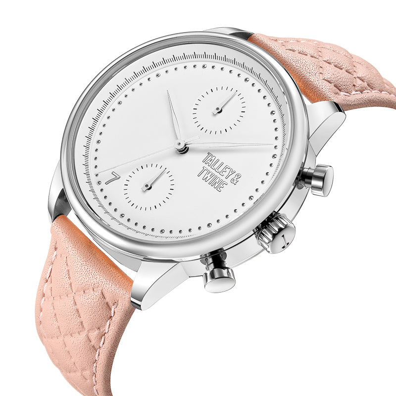 [WOMEN'S 41mm] Silver & White Worley Chronograph - Pink Leather