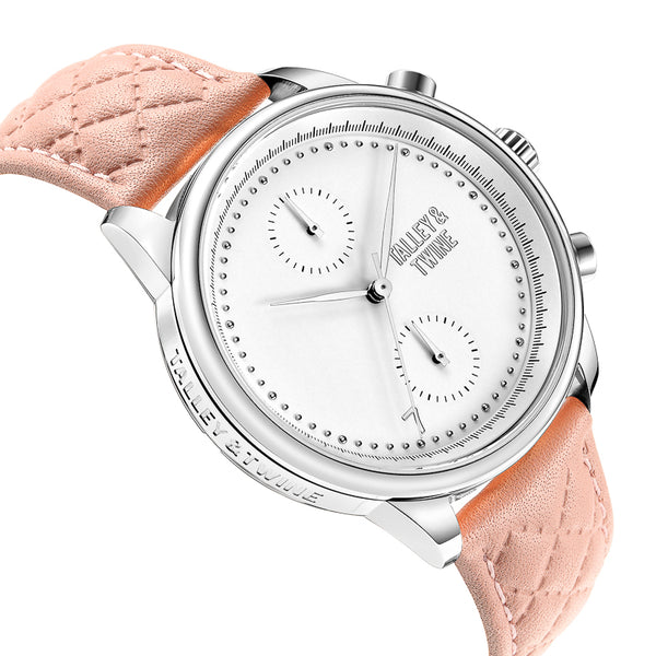 41mm Women's Worley Chronograph Silver & White w/ Pink Leather Band