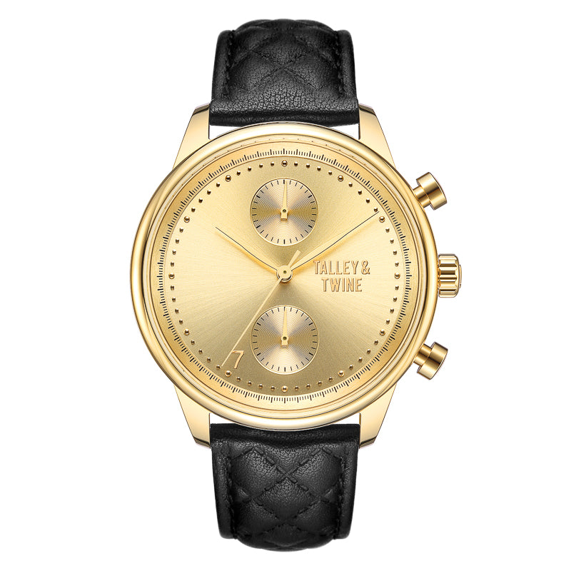 [WOMEN'S] Gold Worley Chronograph - Black Leather