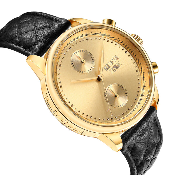 [WOMEN'S 41mm] Gold Worley Chronograph - Black Leather