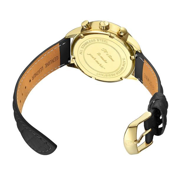 His & Her Gift Set: (46mm & 41mm) Gold Worley Chronograph w/ Black & Gold Leather Band