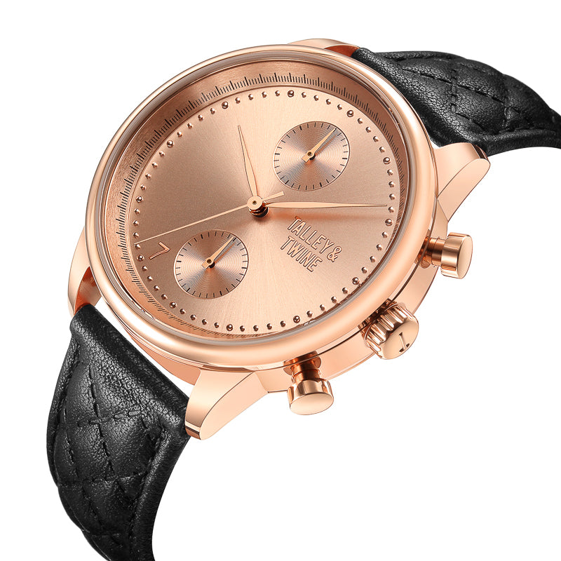 [WOMEN'S] Rose Gold Worley Chronograph - Black Leather [PRE-ORDER ONLY - SHIPS BY OCTOBER 9TH]