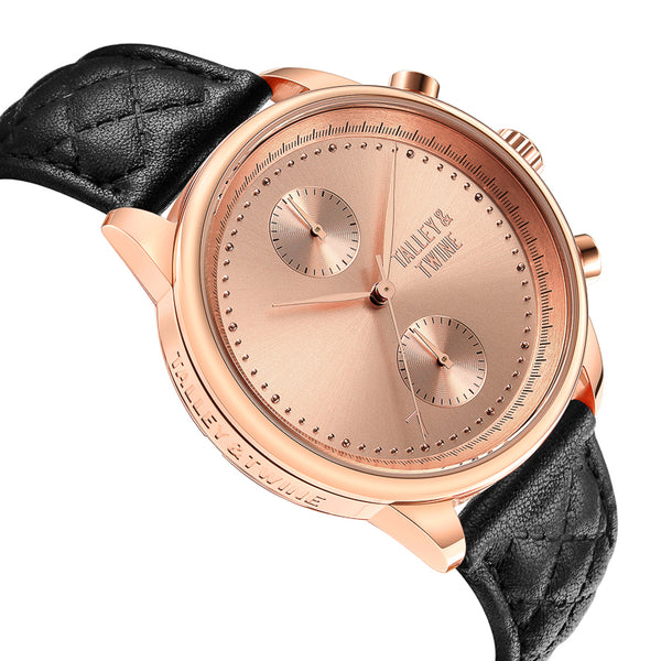 [WOMEN'S 41mm] Rose Gold Worley Chronograph - Black Leather