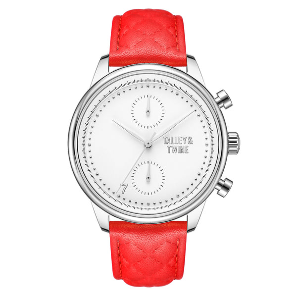 [WOMEN'S 41mm] Silver Worley Chronograph White - Red Leather