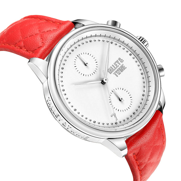 [WOMEN'S 41mm] Silver Worley Chronograph White Face - Red Leather