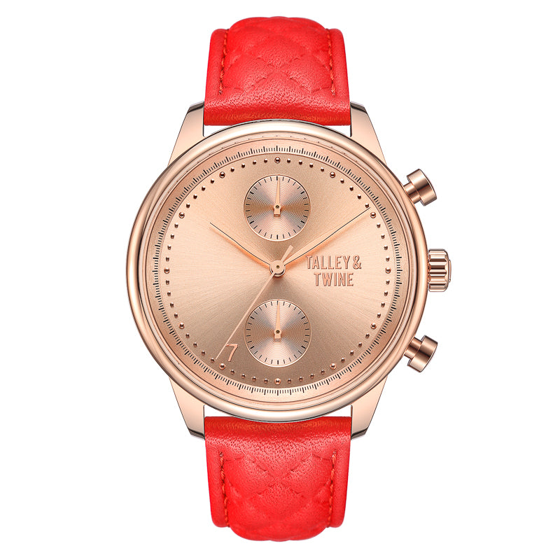 [WOMEN'S 41mm] Rose Gold Worley Chronograph - Red Leather
