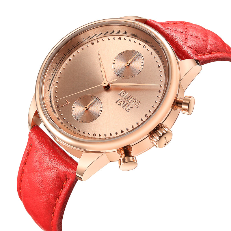 41mm Women's Worley Chronograph Rose Gold w/ Red Leather Band