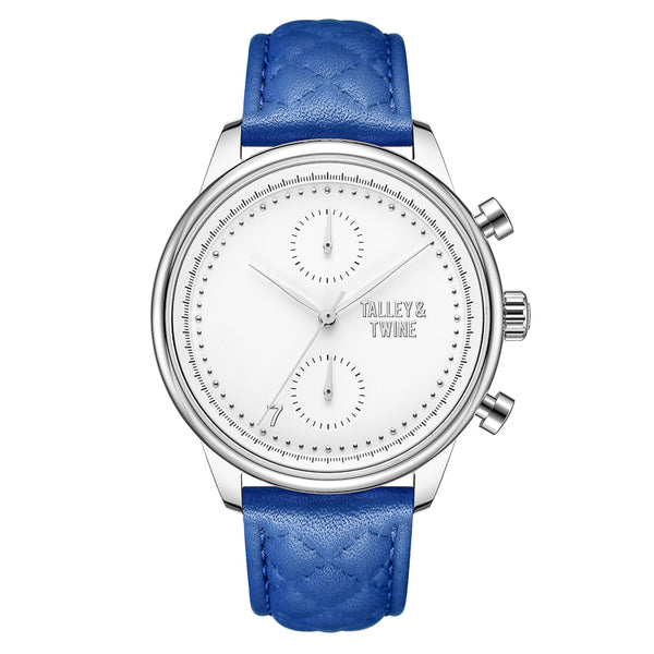 [WOMEN'S 41mm] Silver & White Worley Chronograph - Blue Leather
