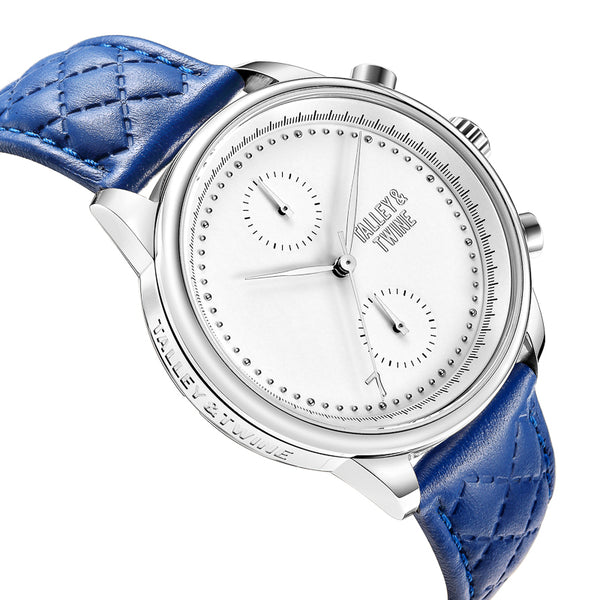 [WOMEN'S 41mm] Silver Worley Chronograph White Face - Blue Leather