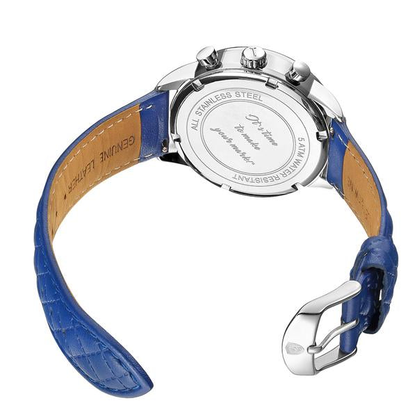 His & Her Gift Set: (46mm & 41mm) Silver & Blue with Blue Leather Band