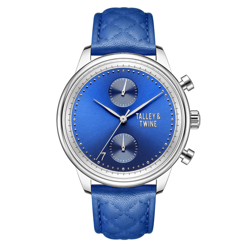 [WOMEN'S 41mm] Silver Worley Chronograph Blue Face - Blue Leather