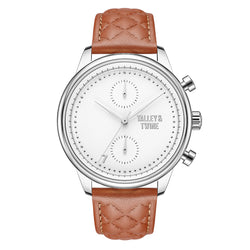 [WOMEN'S 41mm] Silver Worley Chronograph White Face - Light Brown Leather