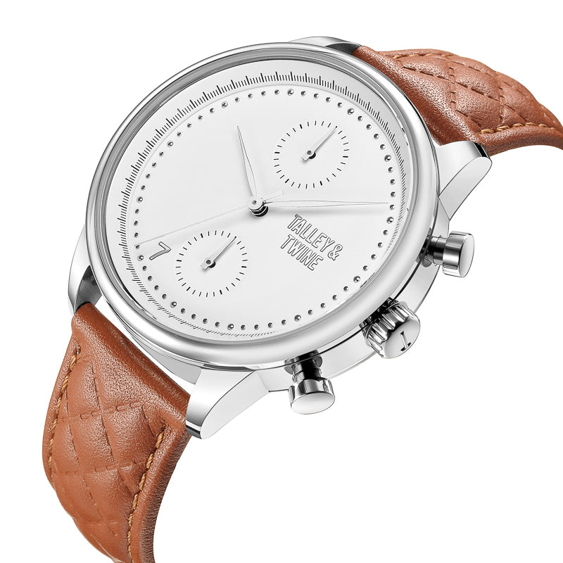 [WOMEN'S] Silver Worley Chronograph White Face - Light Brown Leather