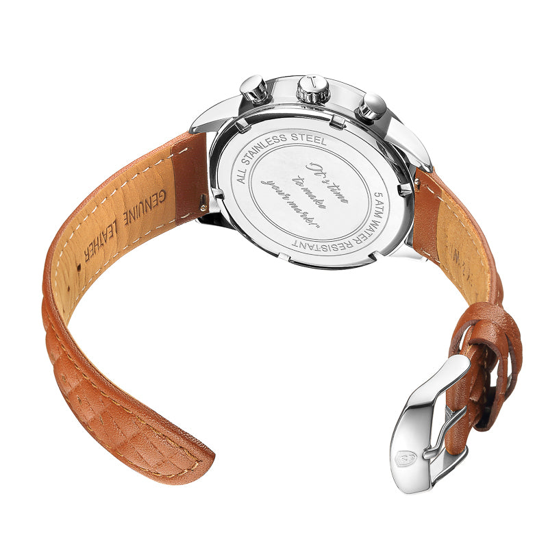 [WOMEN'S 41mm] Silver Worley Chronograph White - Light Brown Leather