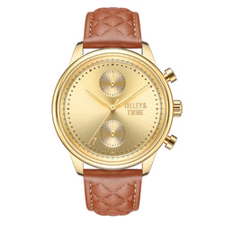 [WOMEN'S 41mm] Gold Worley Chronograph - Light Brown Leather