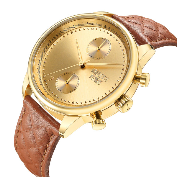 [WOMEN'S] Gold Worley Chronograph - Light Brown Leather