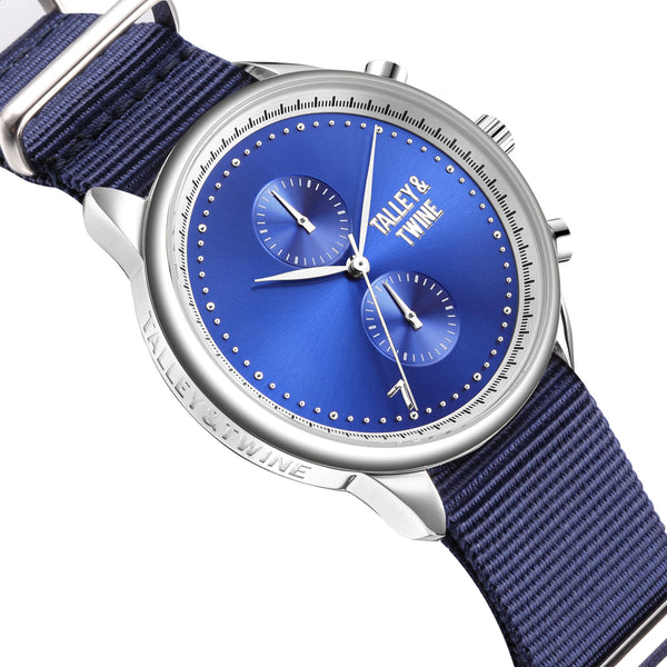**PRE-ORDER! SHIPPING BY OCTOBER 15TH!** 41mm Women's Worley Chronograph Silver & Blue w/ Navy Canvas Band
