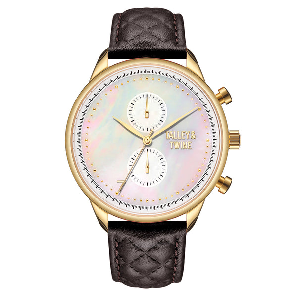 **PRE-ORDER & SAVE! SHIPPING BY JUNE 15TH!**  41mm Women's Worley Chronograph Mother of Pearl w/ Brown Leather Band