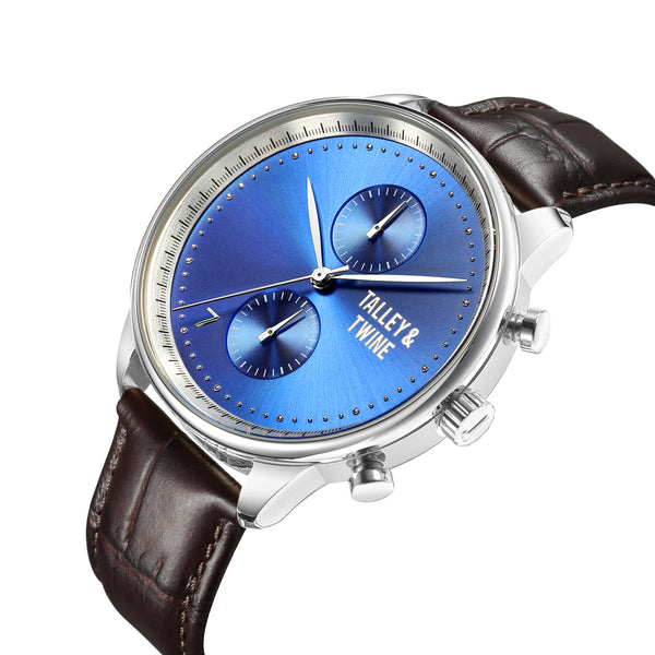 [46mm] Silver Worley Chronograph Blue Face - Brown Leather