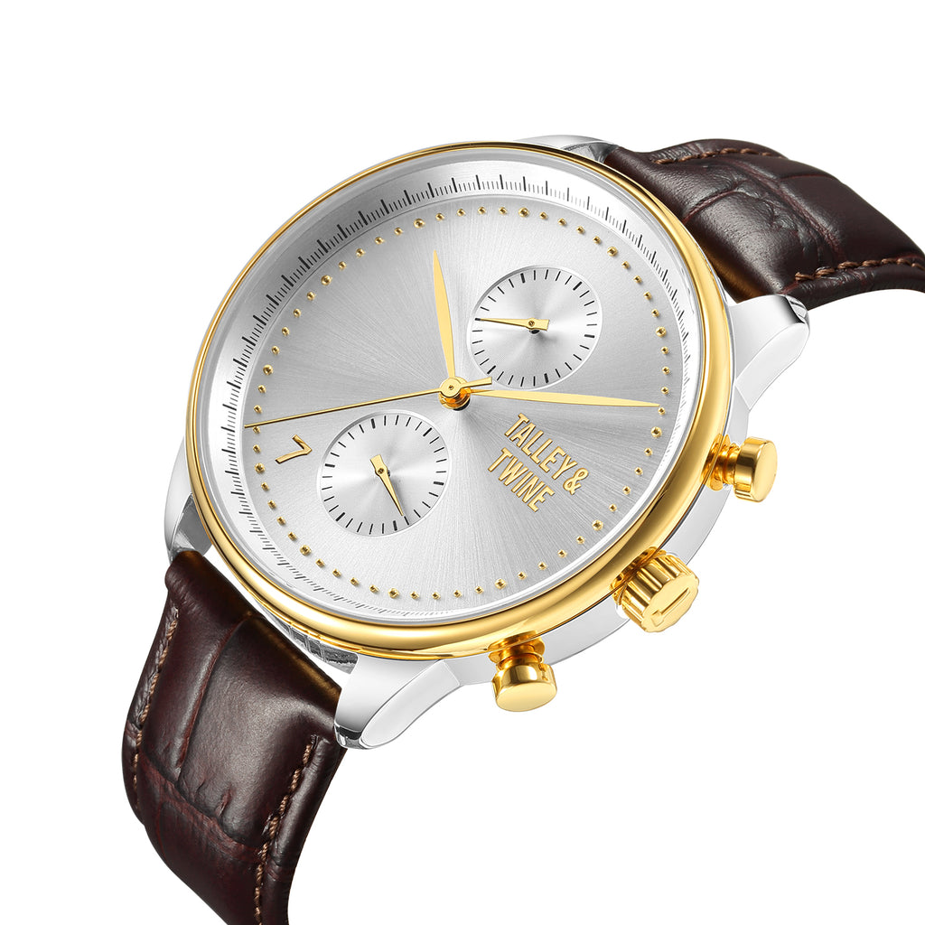 Silver & Gold Worley Chronograph - Brown Leather