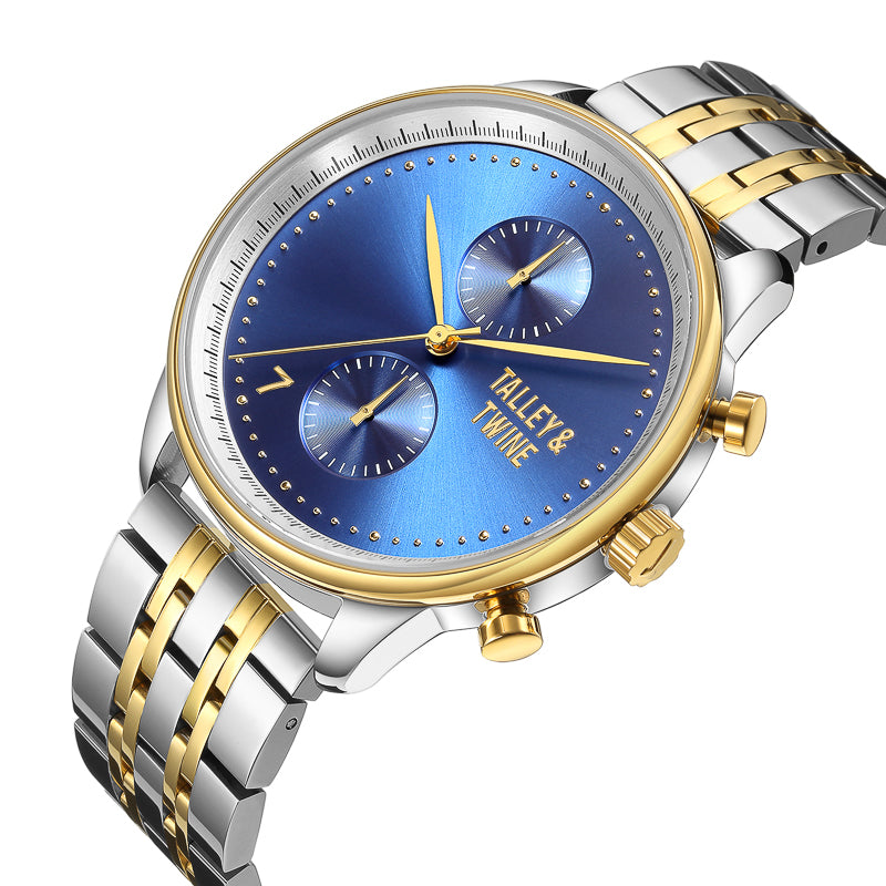 His & Her Gift Set: (46mm & 41mm) Blue, Silver & Gold Worley Chronograph w/ Silver & Gold Metal Band