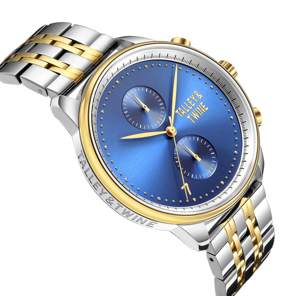 His & Her Gift Set: (46mm & 41mm) Blue, Silver & Gold Worley Chronograph