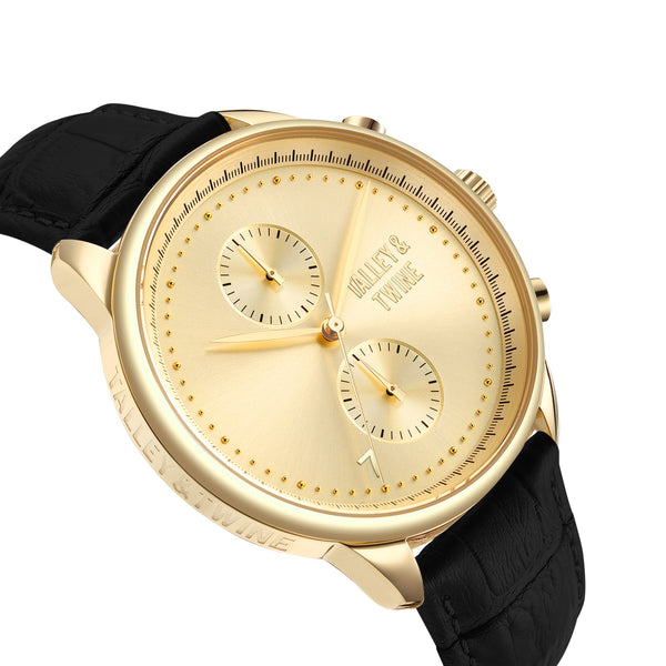 **PRE-ORDER & SAVE! SHIPPING BY OCTOBER 15TH!**46mm Men's Worley Chronograph Gold w/ Black Leather Band
