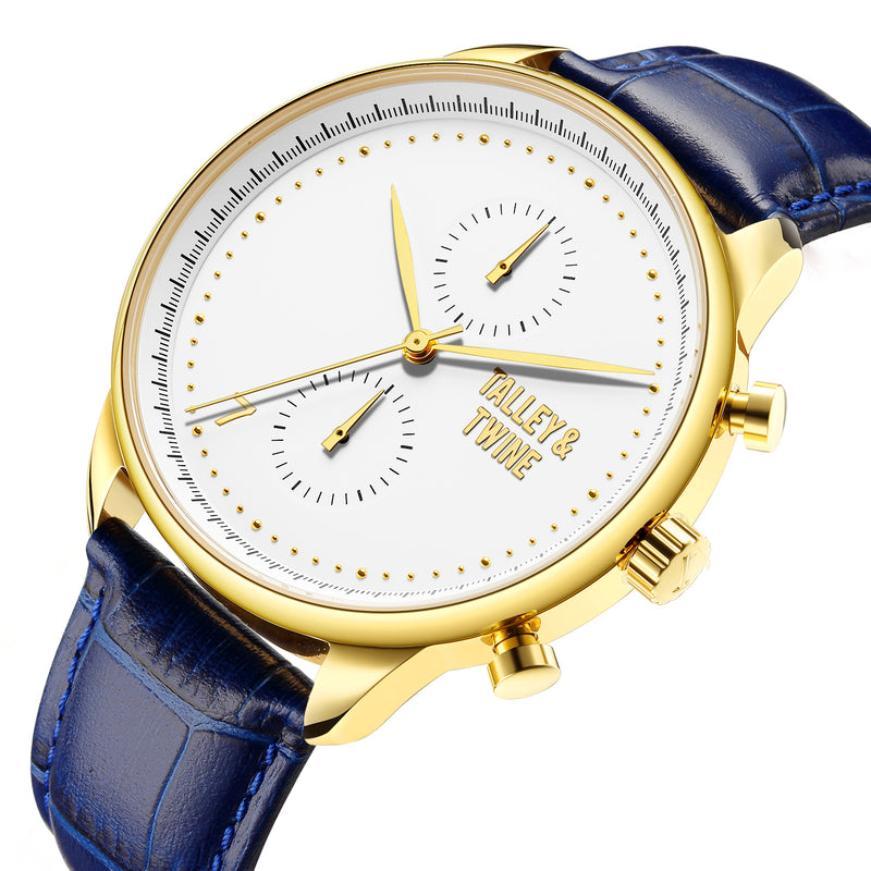 [46mm] Champagne & Gold Worley Chronograph - Blue Leather w/ Gold Accents