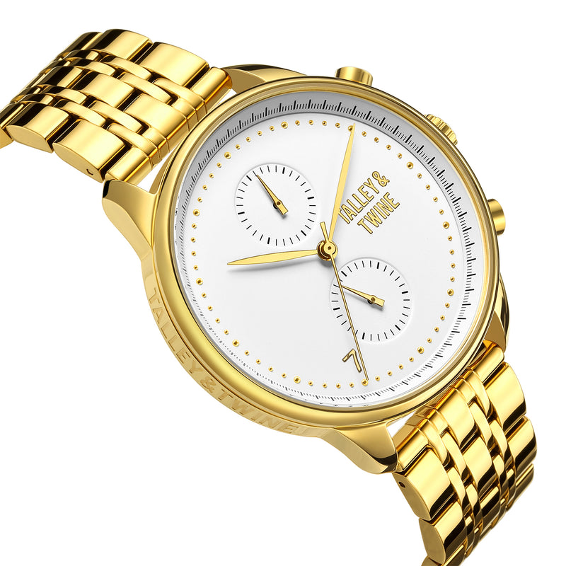 **PRE-ORDER! SHIPPING BY OCTOBER 15TH!** 46mm Men's Worley Chronograph M - Champagne & Gold