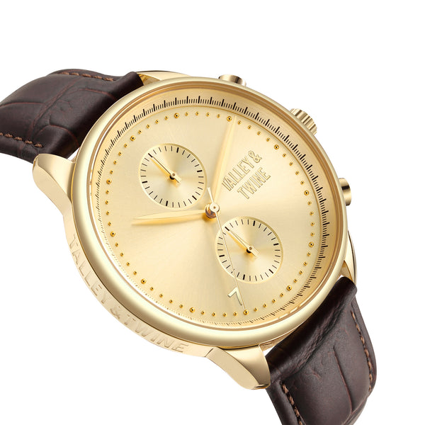 **PRE-ORDER & SAVE! SHIPPING BY OCTOBER 15TH!** 46mm Men's Worley Chronograph Gold w/ Brown Leather Band