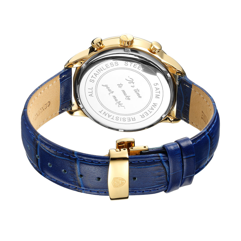 [46mm] Gold & Blue Worley Chronograph - Blue Leather w Gold Accents