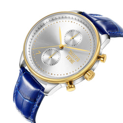 **PRE-ORDER & SAVE! SHIPS BY OCTOBER 15TH** [46mm] Silver & Gold Worley Chronograph - Blue Leather w Gold Accents