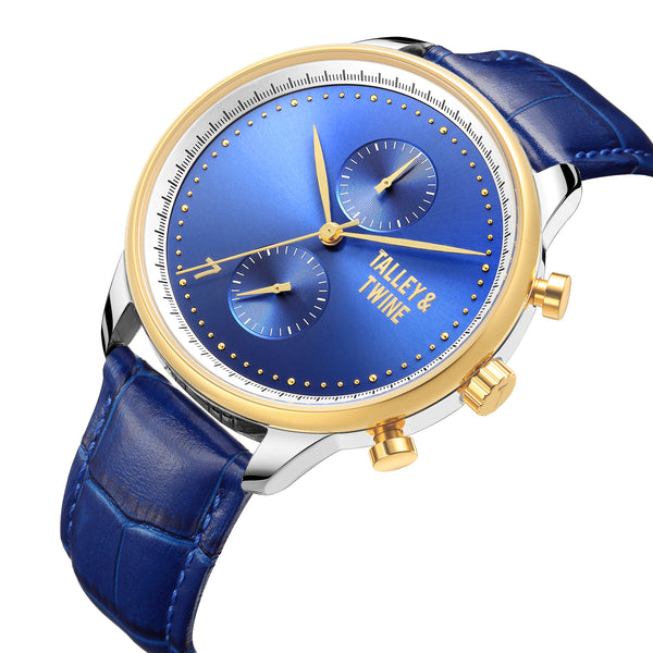 46mm Men's Worley Chronograph Silver, Blue & Gold w/ Blue Leather Band