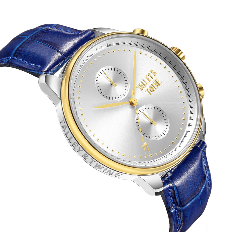 [46mm] Silver & Gold Worley Chronograph - Blue Leather w Gold Accents