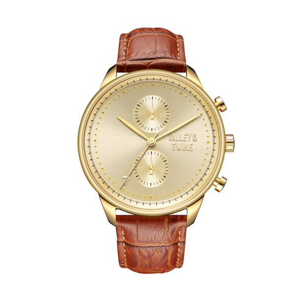 **PRE-ORDER & SAVE! SHIPPING BY JUNE 15TH!**  46mm Men's Worley Chronograph Gold w/ Tan Leather Band