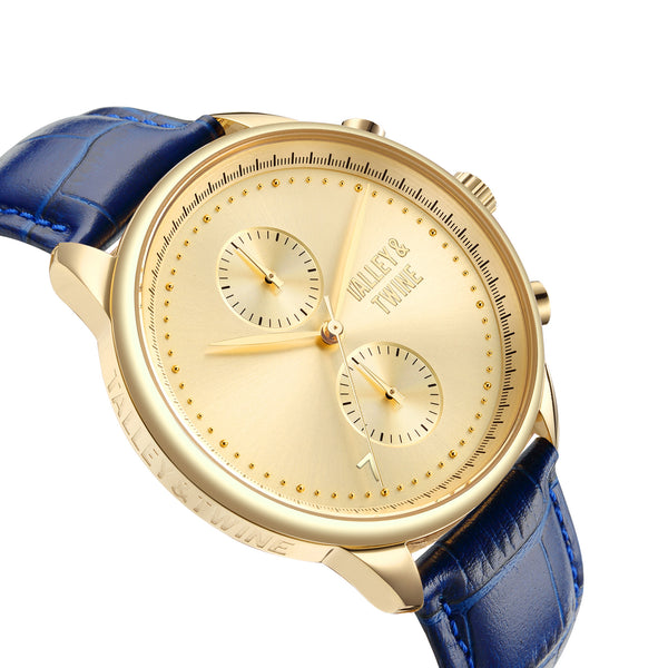 [46mm] Gold Worley Chronograph - Blue Leather with Gold Accents