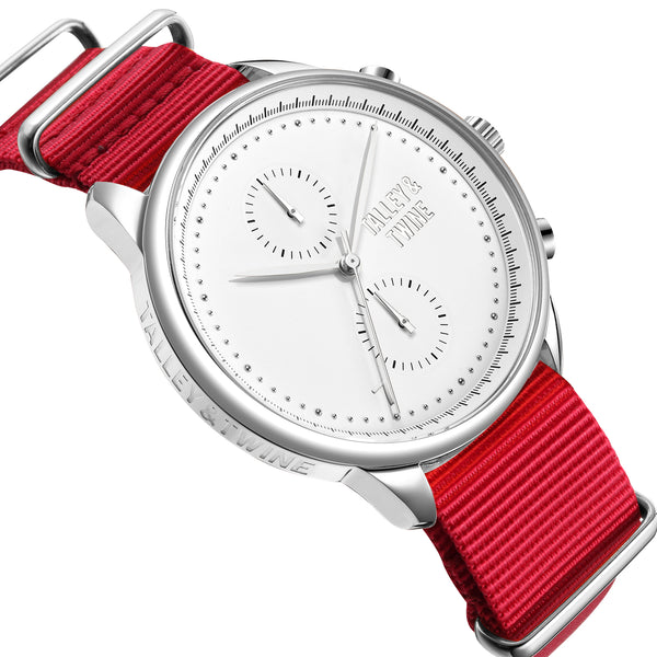 [46mm] Silver & White Worley Chronograph M - Red Canvas