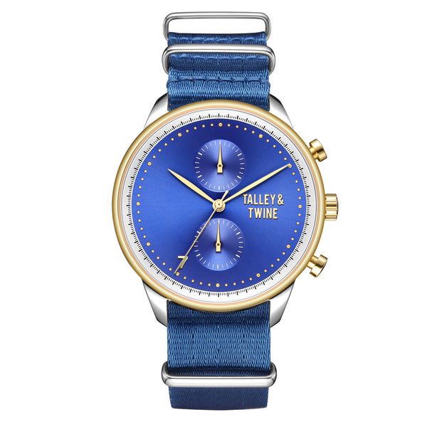 [46mm] Silver, Gold & Blue Worley Chronograph M - Royal Blue Canvas